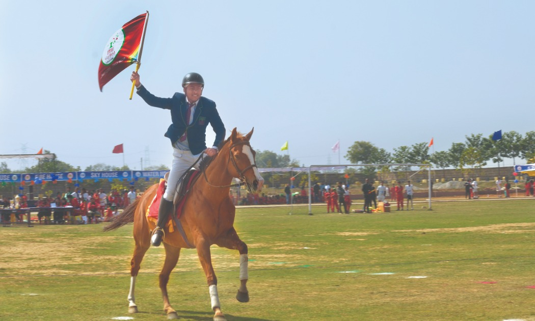 studnet riding horse in event ITM global school